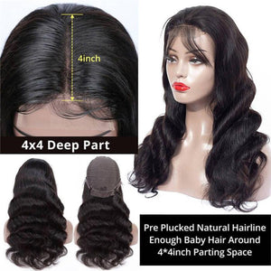 Perruque de Cheveux 4×4 Lace Closure Wig Ondulés (Body Wave)