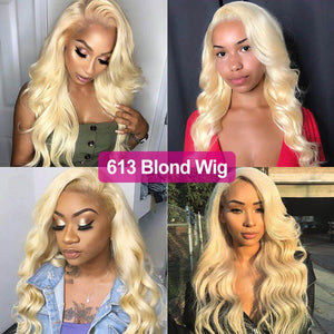 Perruque Lace Front Wig Ondulés (Body Wave) #613 Blonde