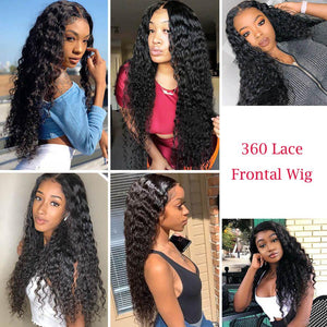 Perruque de Cheveux 360 Lace Frontal Wig Bouclés (Deep Wave)