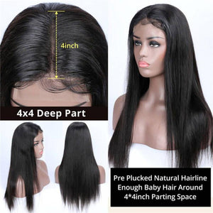 Perruque de Cheveux 4×4 Lace Closure Wig Lisses (Straight)