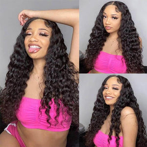 Perruque de Cheveux 13×4 Lace Front Wig Bouclés (Water Wave)