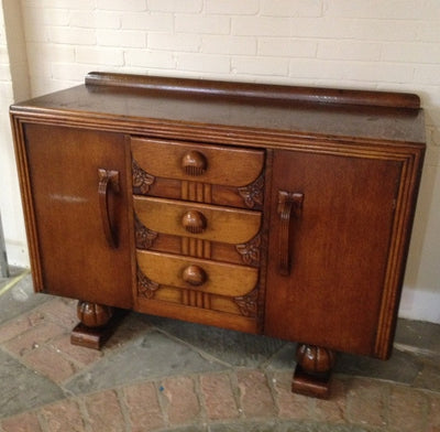 "1930's 4'6"" art nouveau oak sideboard"