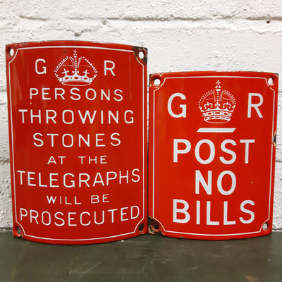 GPO Bills Enamel Sign