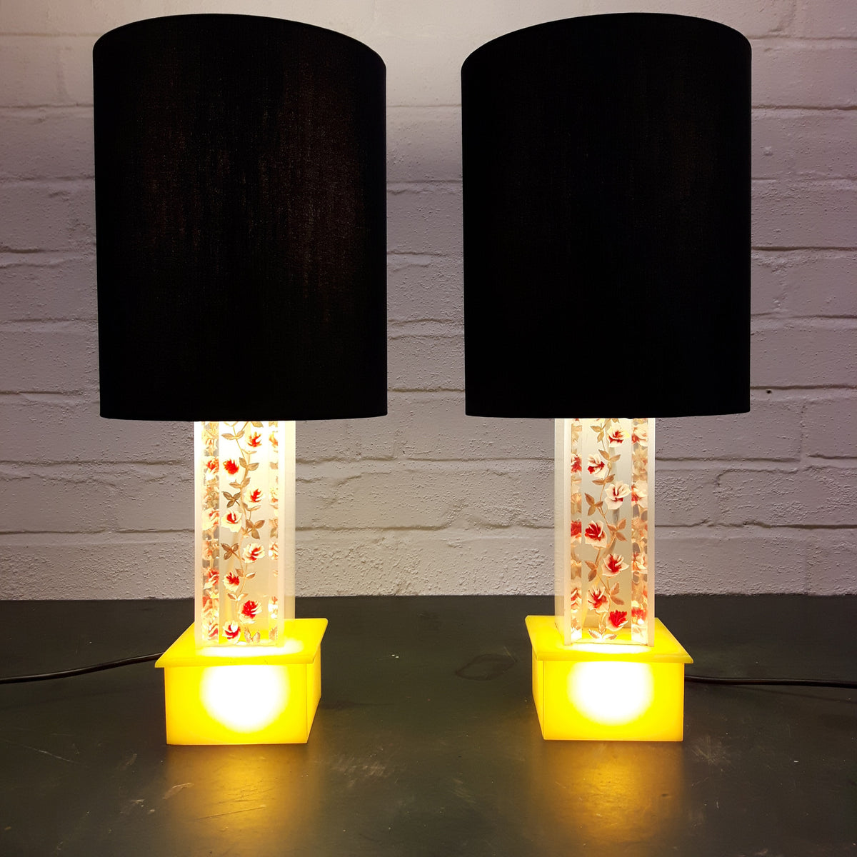 Pair of Midcentury Lucite Lamps