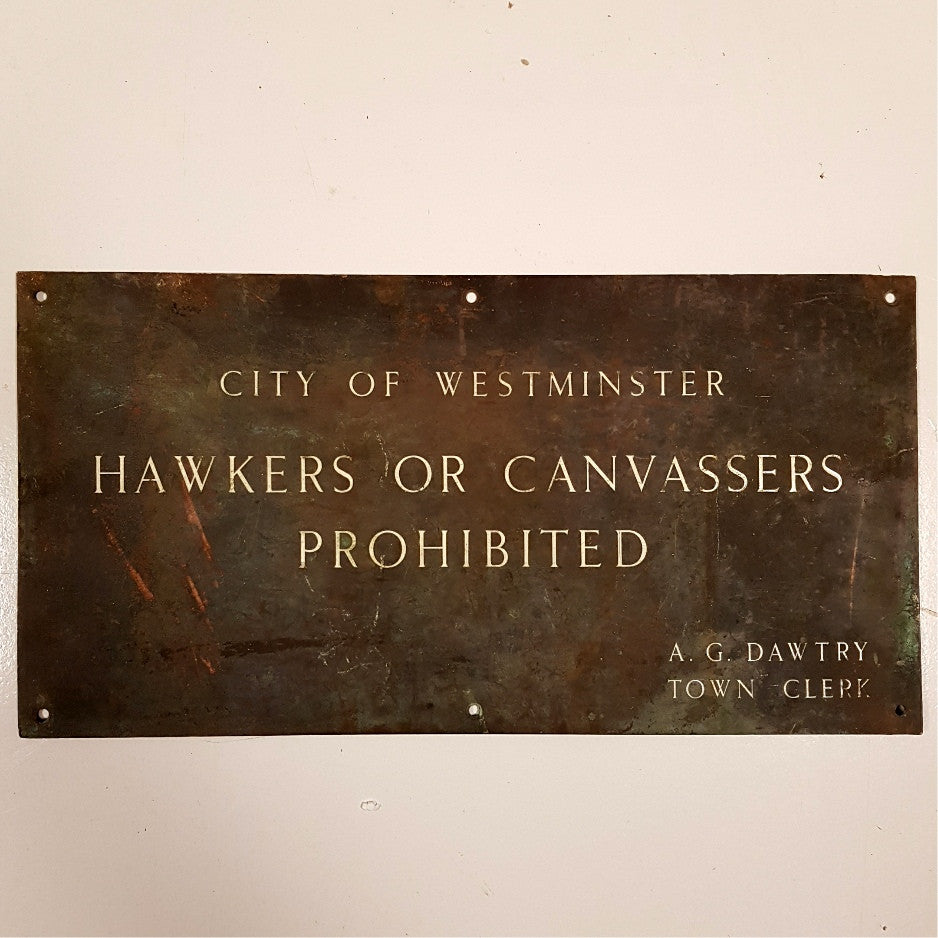 City of Westminster Brass Plaque