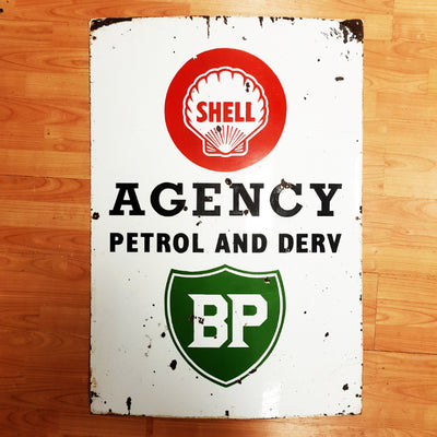 BP and Shell Enamel Sign