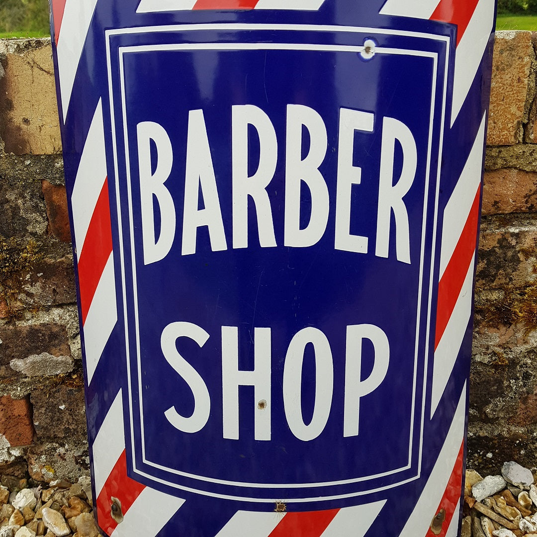 Barber Shop Enamel Sign