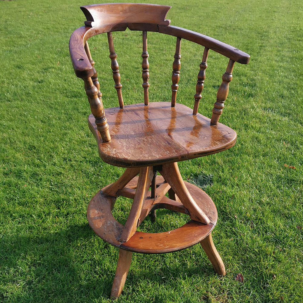 Adjustable Wooden Captains Chair