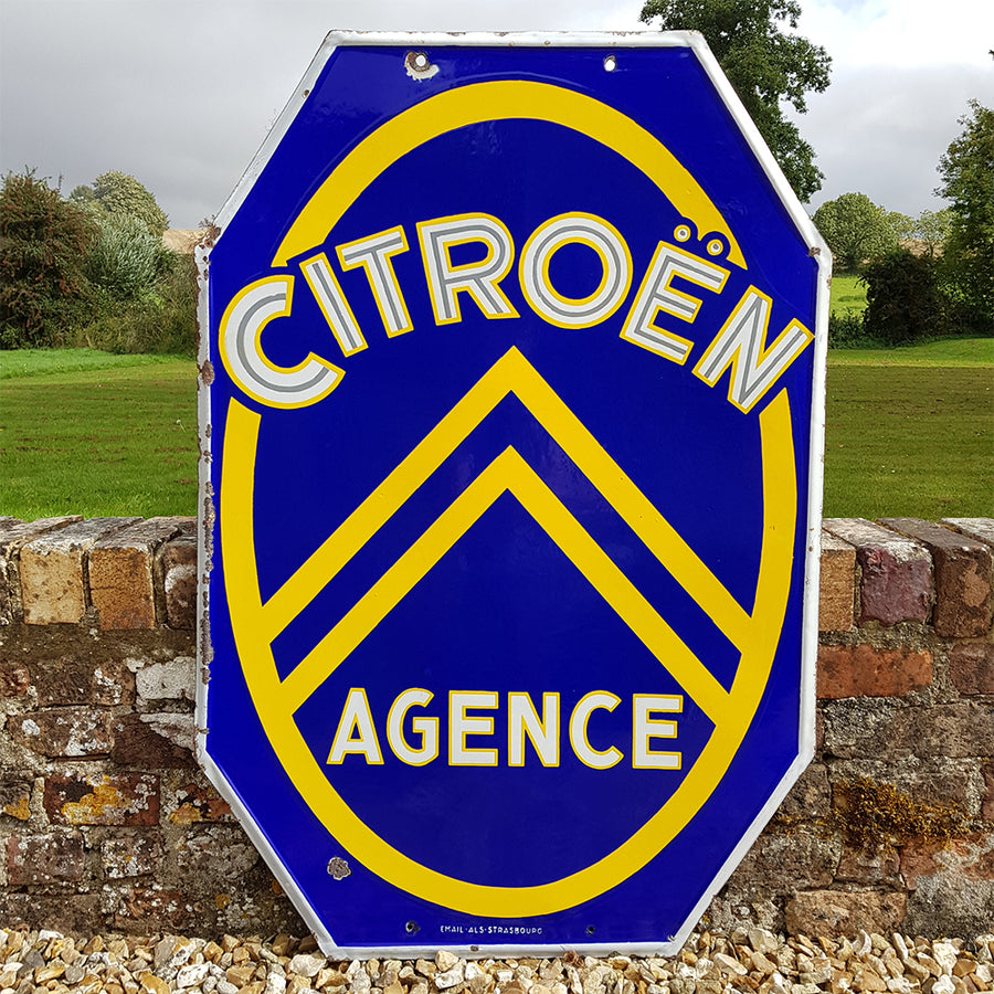 Double Sided Citroen Enamel Sign