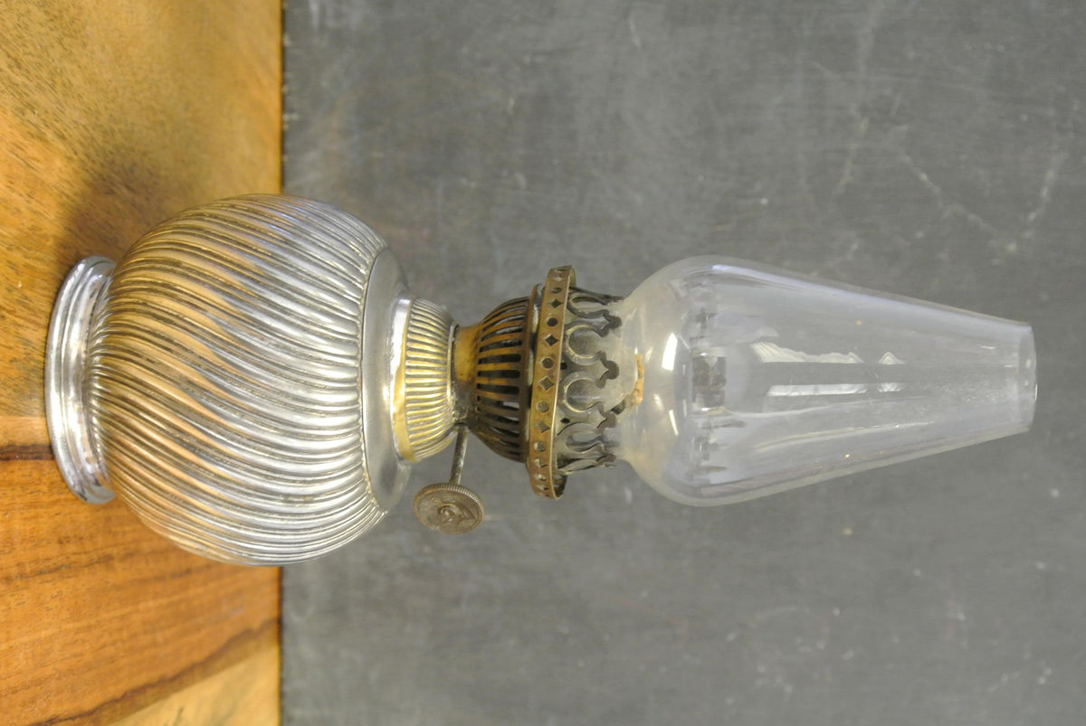 Vintage miniature silverplate oil lamp