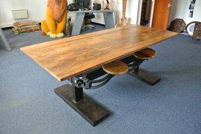 Industrial Dining Table with Retractable Stools