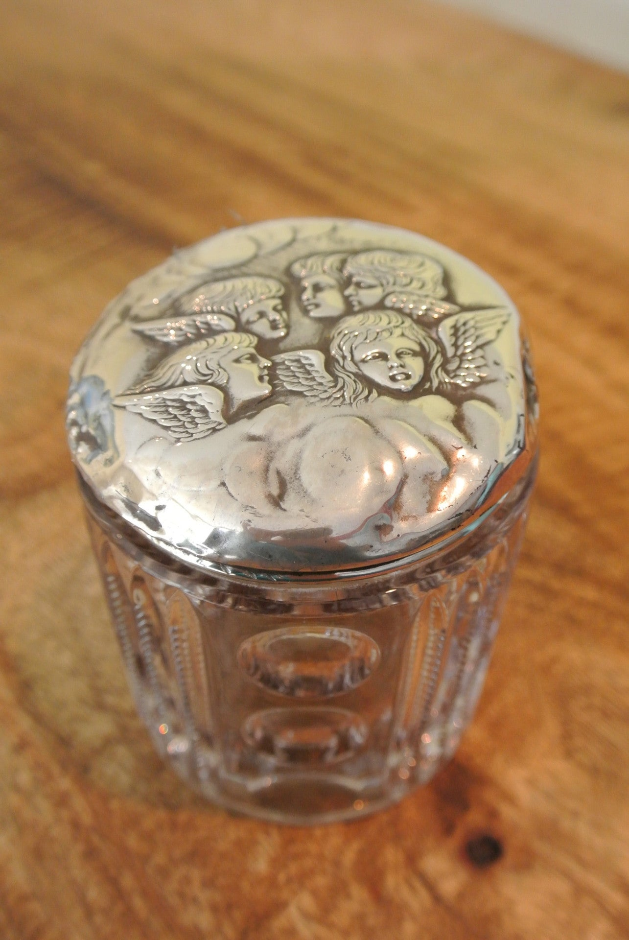 1930s silver topped glass dressing table jar