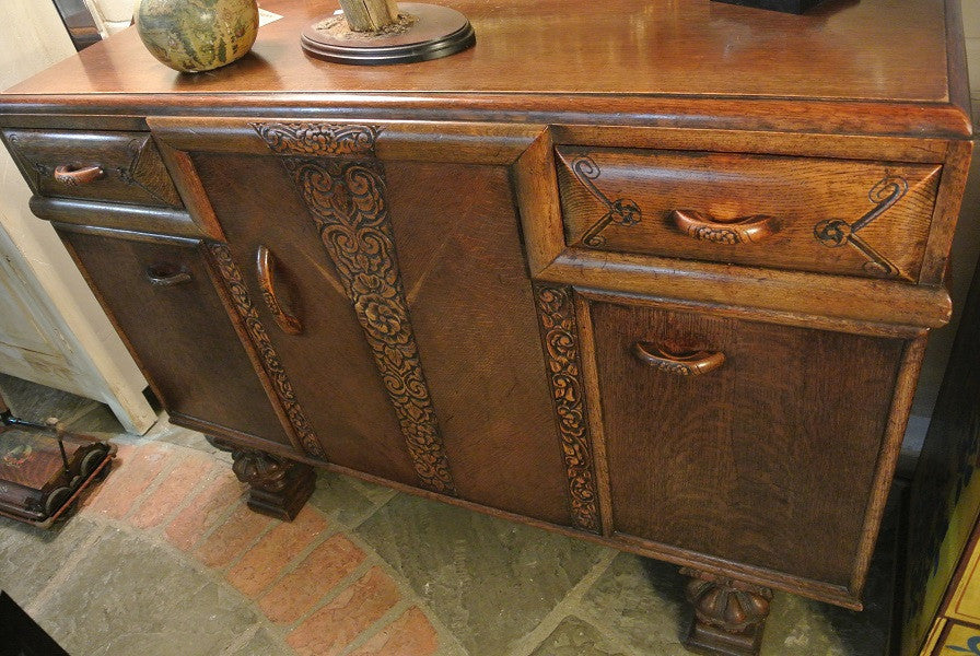 1930s decorative oak sideboard