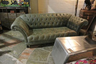 Vintage Sage Green Leather Chesterfield Sofa