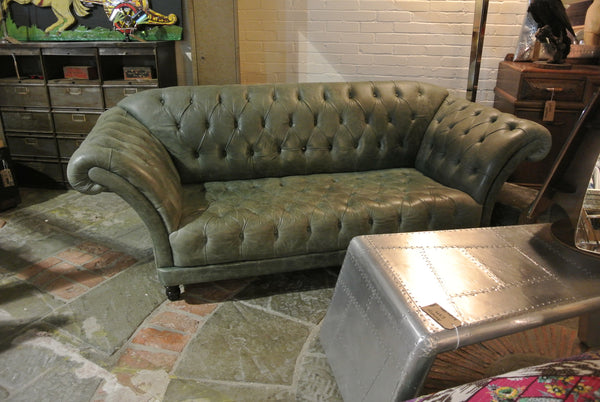 Vintage Sage Green Leather Chesterfield Sofa Home Alchemy