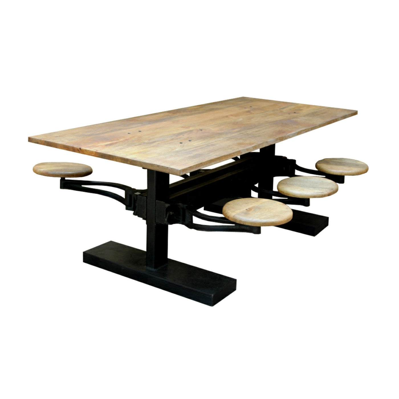 Breakfast Table With Stools: Industrial Dining Table With Retractable Stools