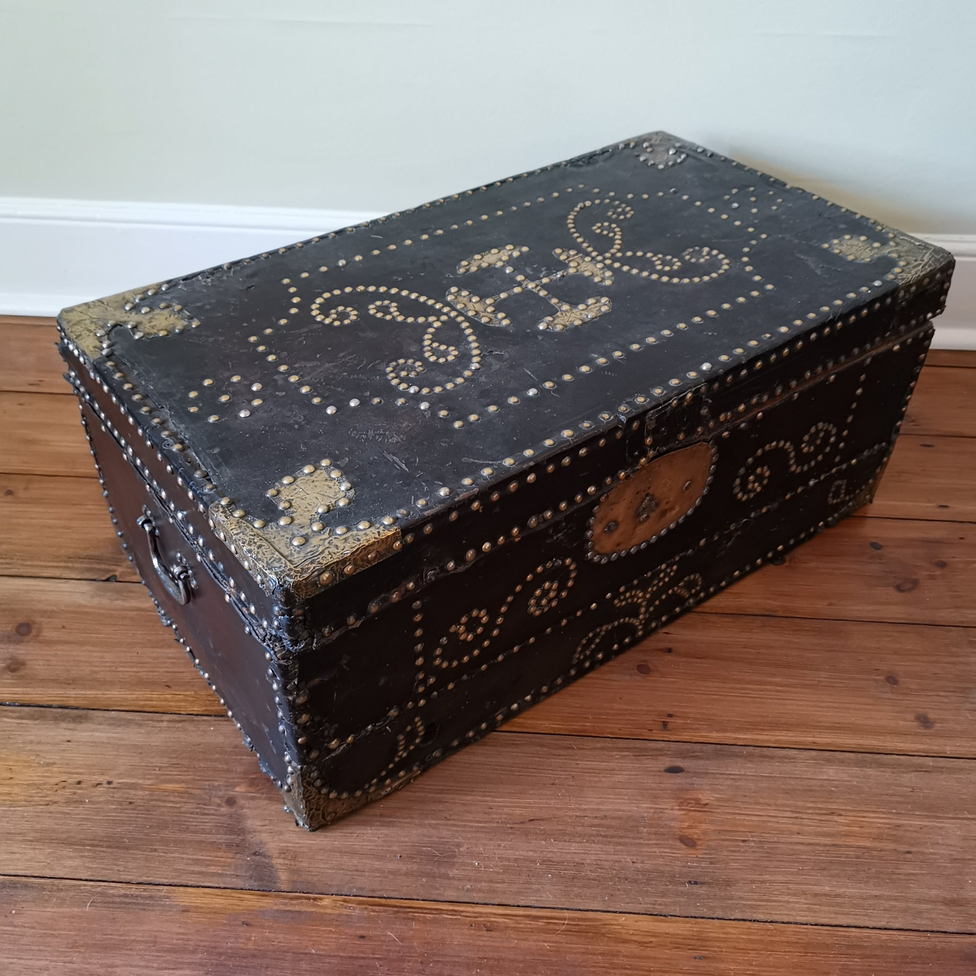 Leather Bound & Brass Studded Trunk