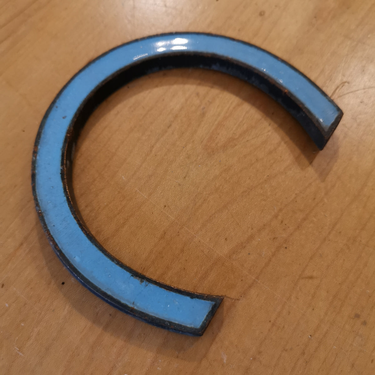 Blue Enamelled Bronze Letter 'C'