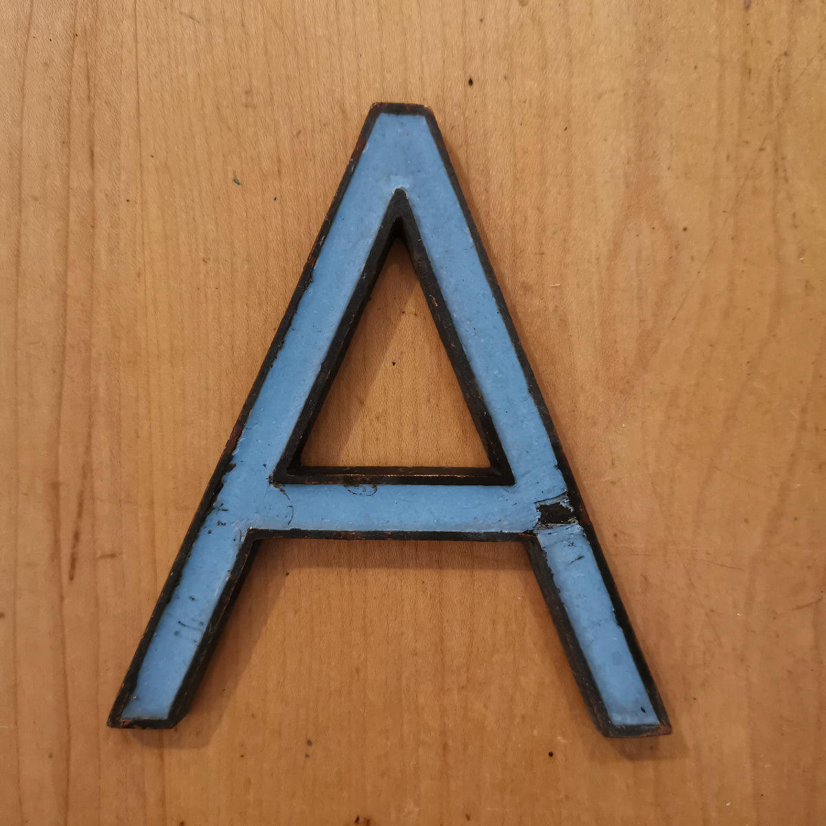 Blue Enamelled Bronze Letter 'A'