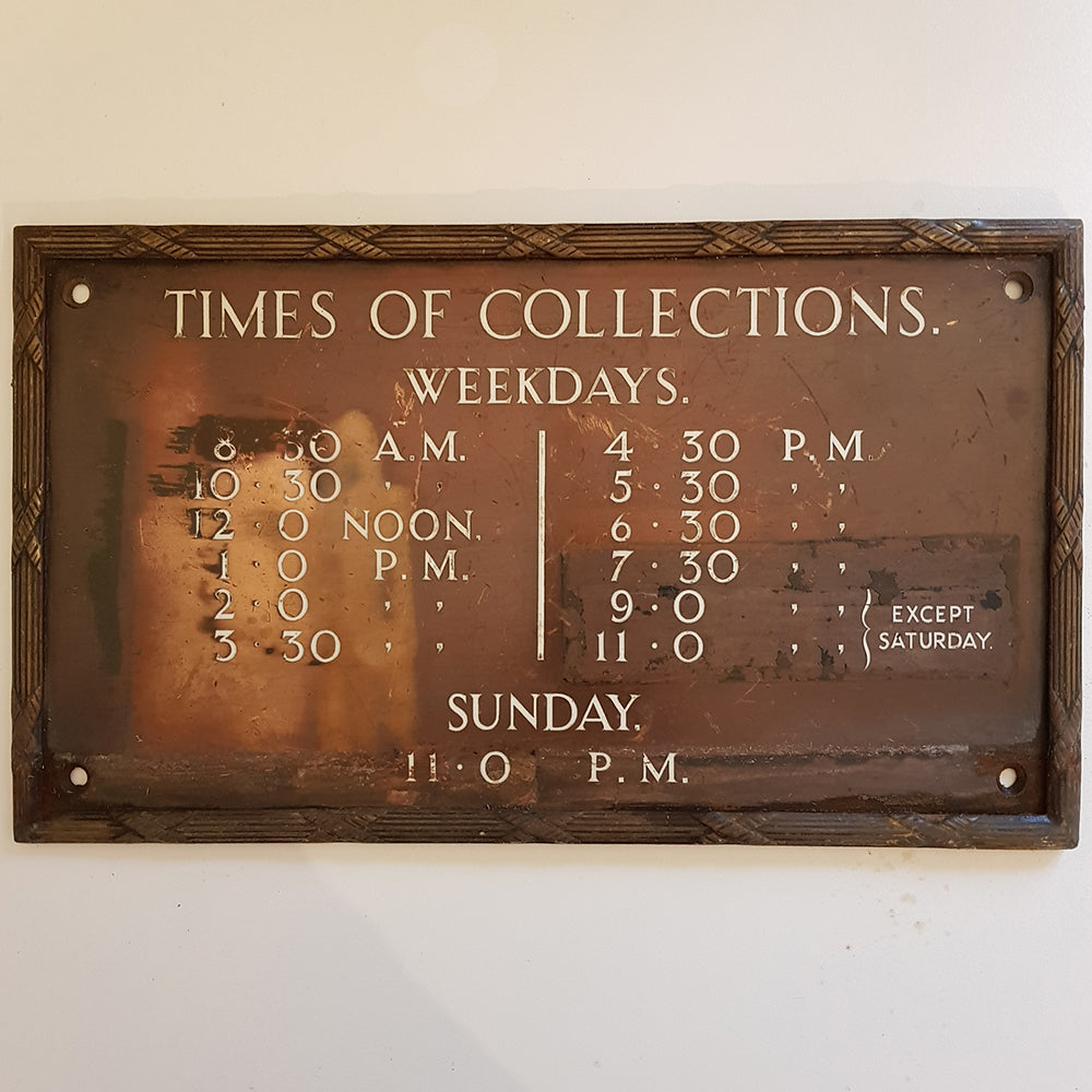Post Box Collections Sign