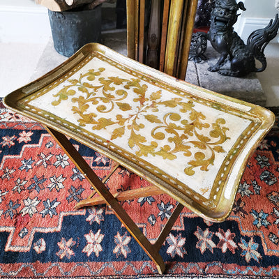 Italian Hand Painted Tray Table Set