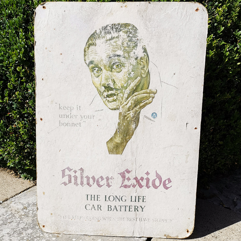 Silver Exide Car Battery Ad