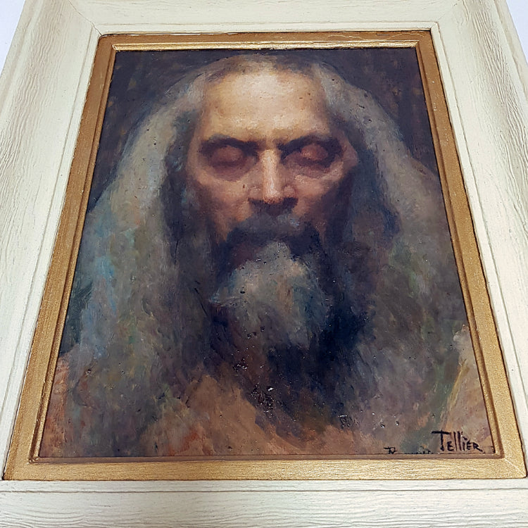Oil Painting - Portrait of a Saint by Raymond Tellier