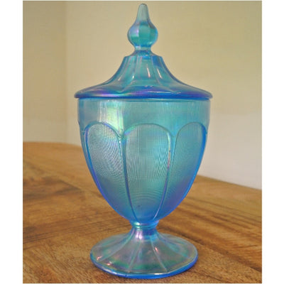 Fenton Florentine iridescent glass jar and lid