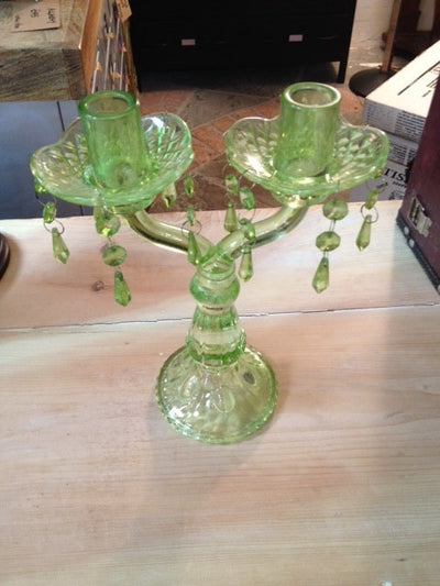 Vintage green glass candelabra