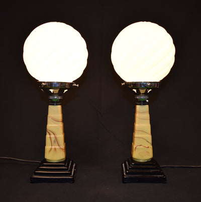 Art Deco Ice Cream Lamps (Pair)