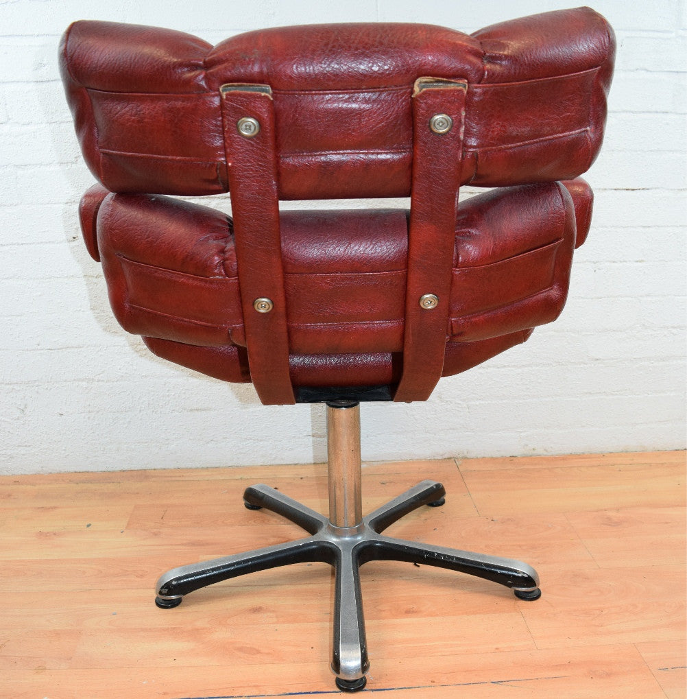 Mid Century Red Leatherette Chair