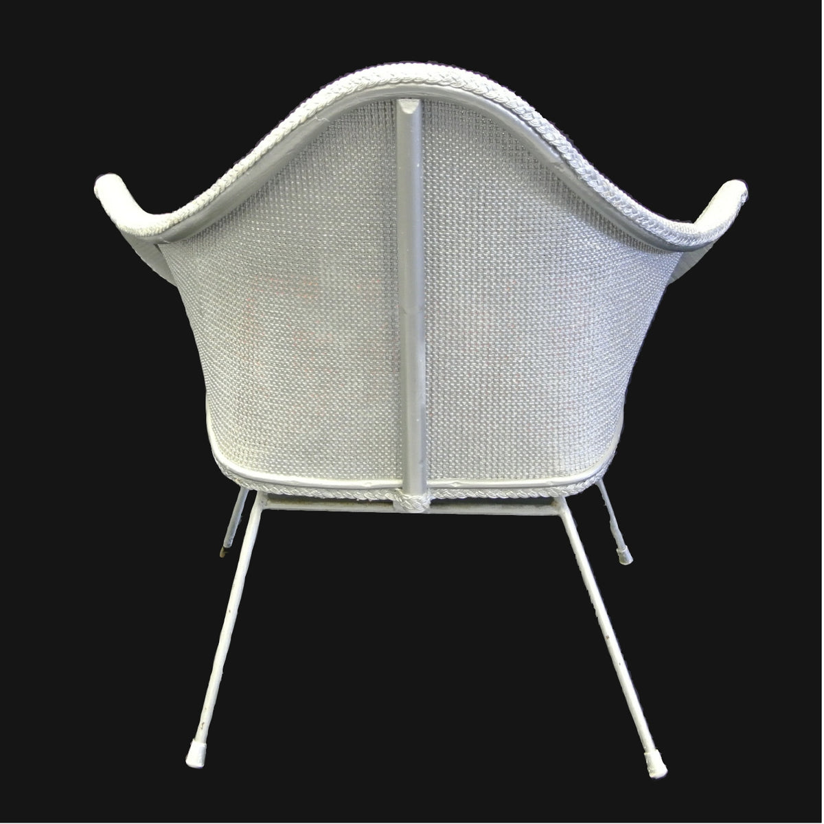 Silver wicker and upholstered chair