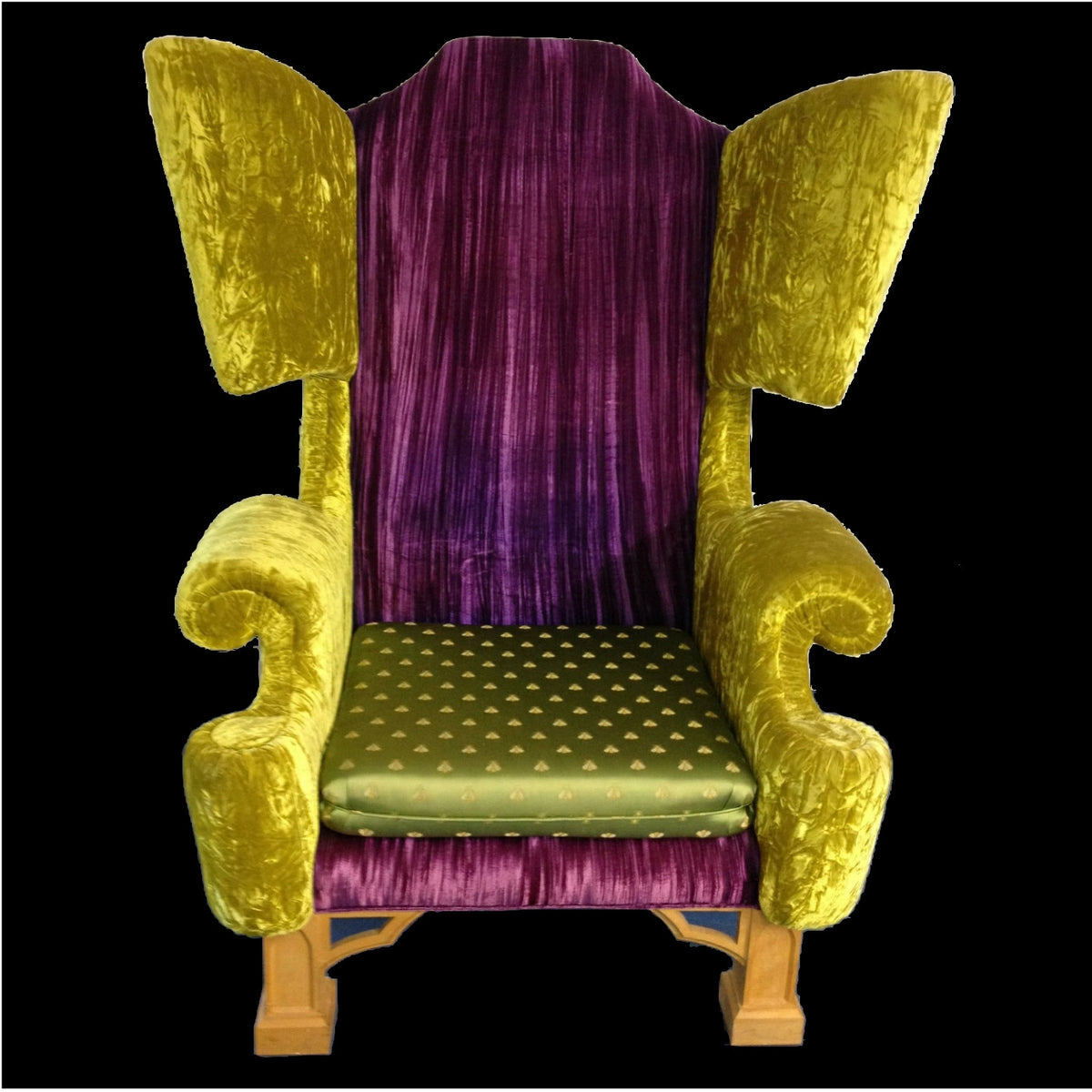 Purple and Lime Winged Armchair