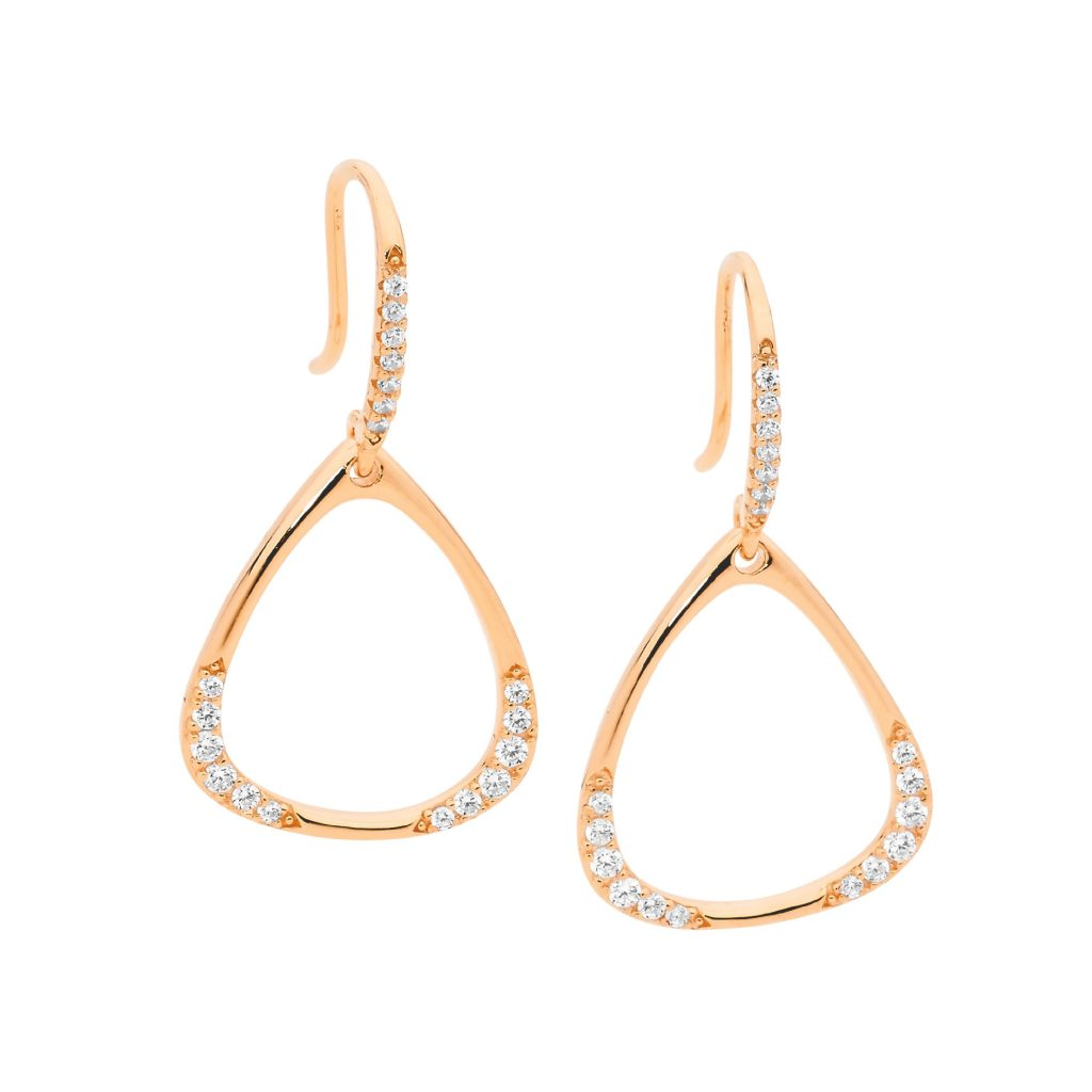 Sterling Silver White Cubic Zirconia Open Triangle Drop Earings With Rose Gold Plating