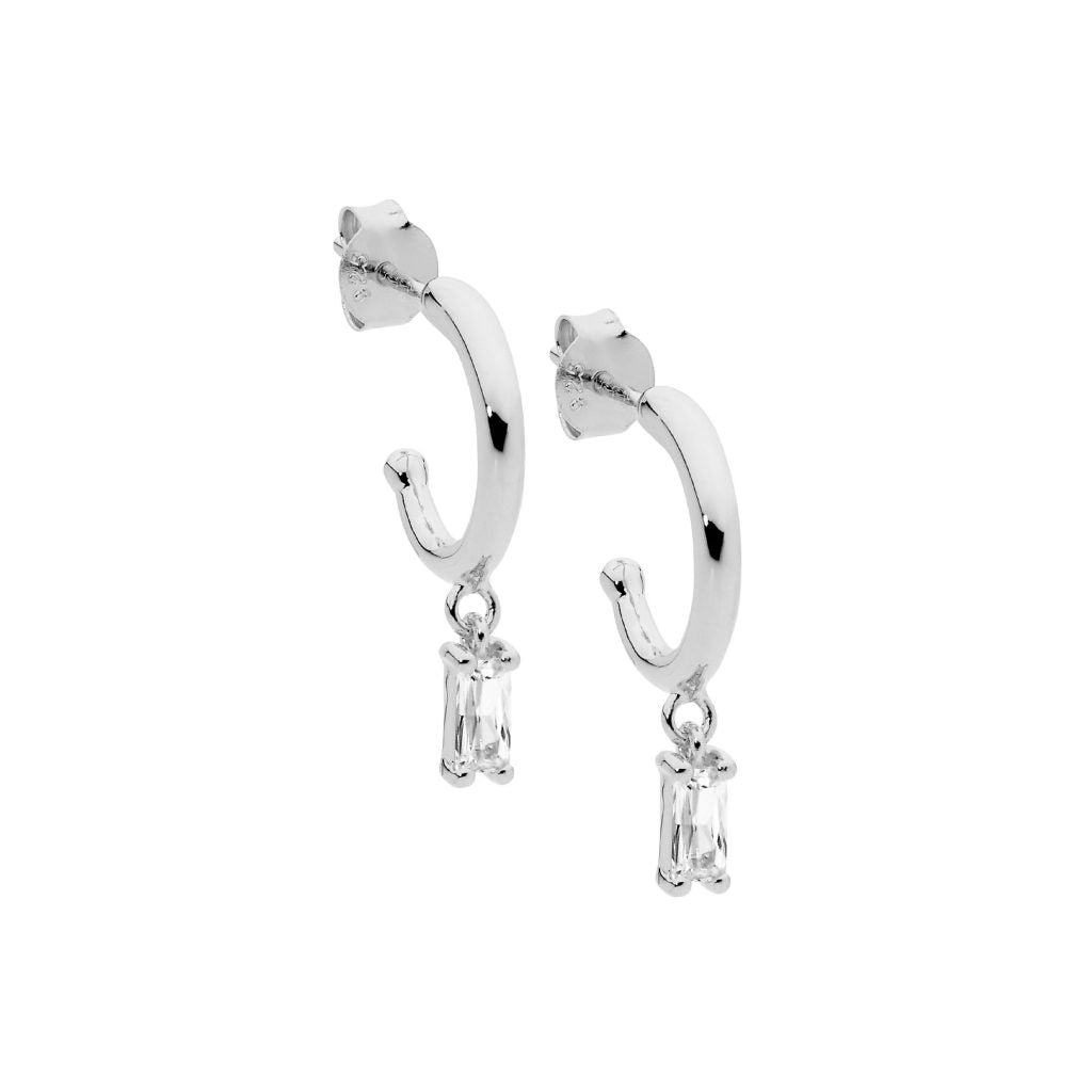 Sterling Silver 13mm Hoop Earings, White Cubic Zirconia Baguette Drop