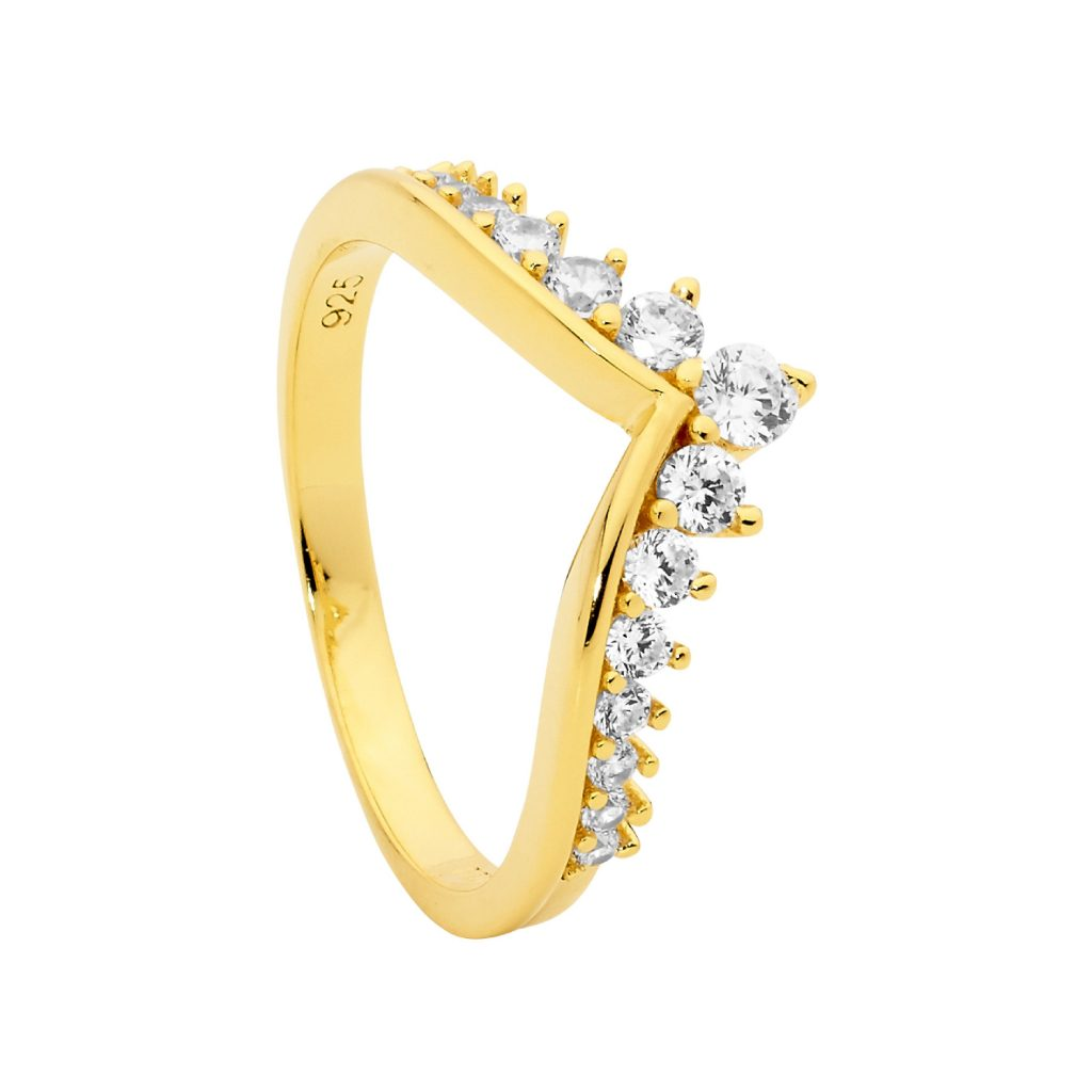 Sterling Silver Plain V Ring With Gradual White Cubic Zirconia & Gold Plating