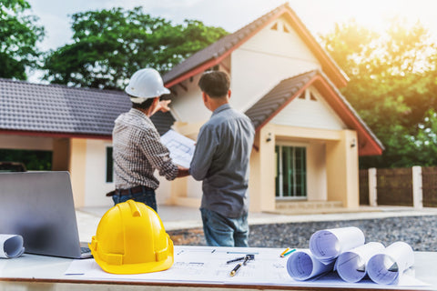 man professional engineer worker at the house building