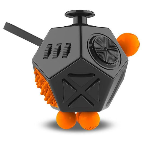 Fidget Cube 12 Utilisations Noir/Orange|Le Monde Anti Stress