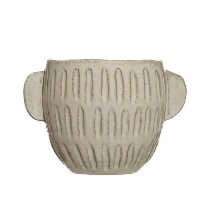 Embossed Stoneware Planter
