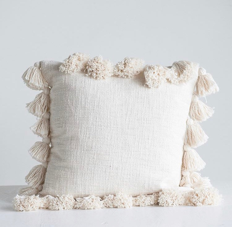 Ivory Tassel Pillow Cover