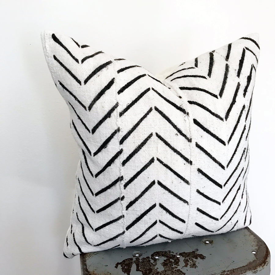 Mudcloth Pillow Cover - Chevron (square)