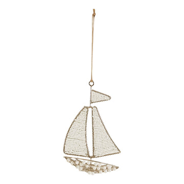 Glass Bead & Faux Pearl Sailboat Ornament