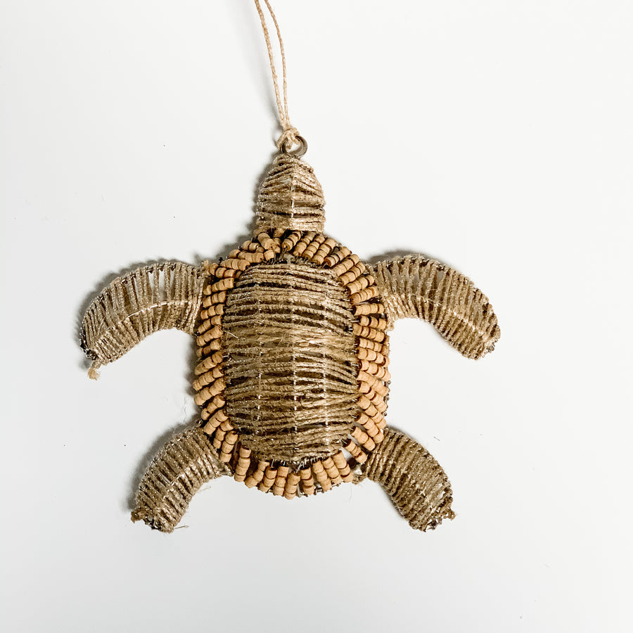 Natural Beaded Turtle Ornament