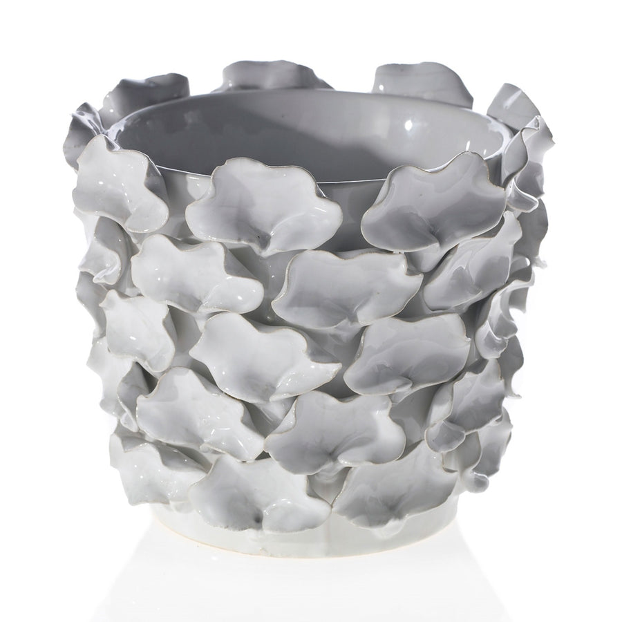 White Wavvy Ceramic Planter