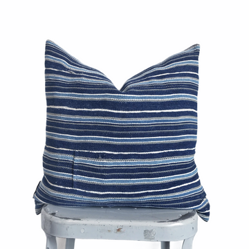 Mudcloth Pillow Cover - Striped Indigo (square)