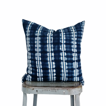 Mudcloth Pillow Cover - Indigo Tracks (square)