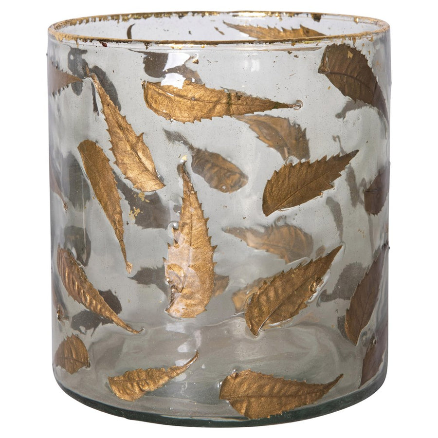 Glass Vase w/ Gold Leaves