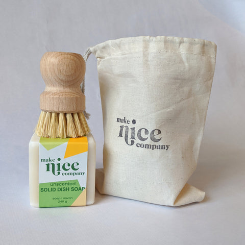 Make Nice Co. - Solid Dish Soap Kit - Scrubber