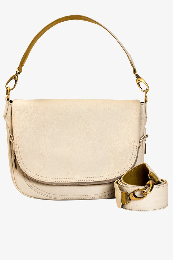 Aria Leather Crossbody (White)