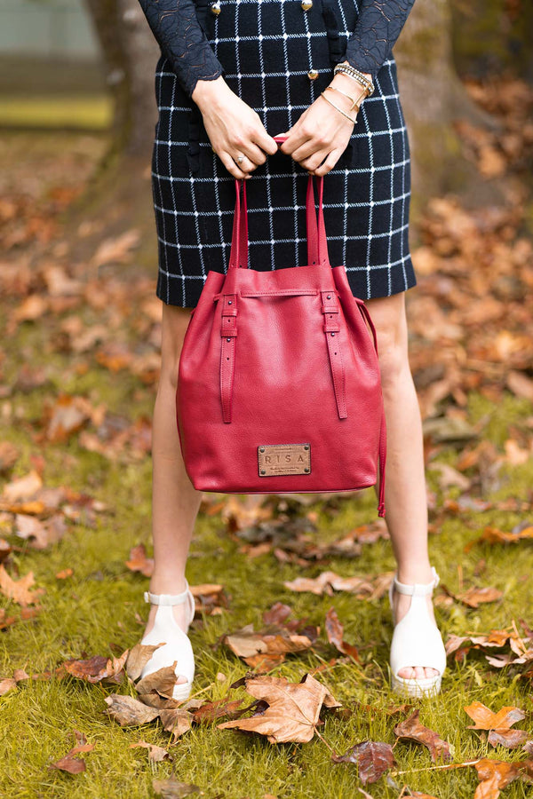 Victoria Leather Bucket Crossbody (Cherry)